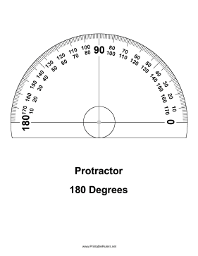 Protractor 180 Degrees Printable Ruler