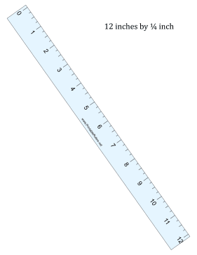 Ruler 12-Inch By 1/4 Inch Blue Printable Ruler
