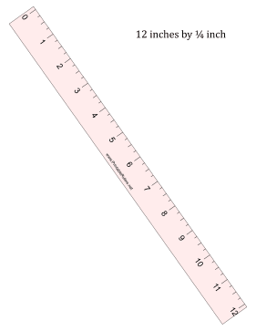 Ruler 12-Inch By 1/4 Inch Pink Printable Ruler