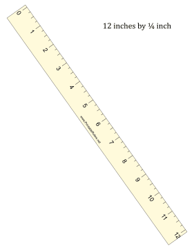 Ruler 12-Inch By 1/4 Inch Yellow Printable Ruler