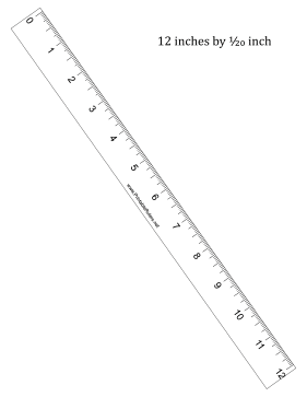 Ruler 12-inch by 1/20 inch Printable Ruler
