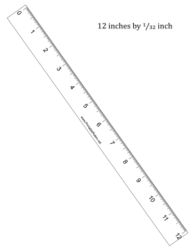 12-inch by 1/32 inch Ruler Printable Ruler