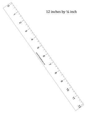12-inch by 1/4 inch Ruler Printable Ruler