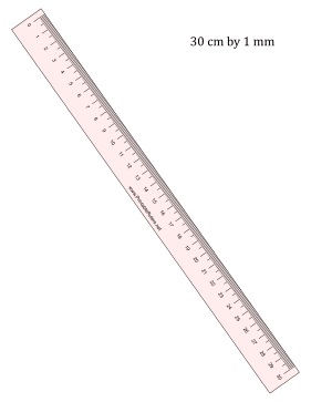 Ruler 30-cm By mm Pink Printable Ruler