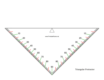 image relating to Printable Triangle titled Triangle Protractor - Printable Ruler